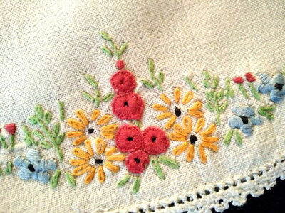 Pair - Cottage Garden  ~ Vintage Hand Embroidered Doilies
