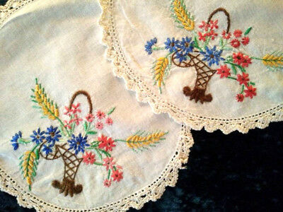Pair - Flower Baskets  ~ Vintage Hand Embroidered Doilies