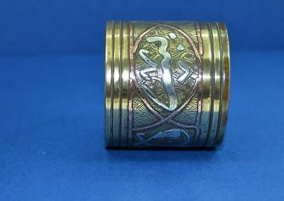 vintage Arabic Trench Art napkin ring silver copper inlaid script on brass case