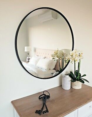 Round Metal Framed Wall Mirror 90cm diam. Black and White, Feature or Bathroom