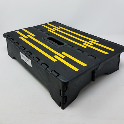 Portable Folding Riser Step with Safety Improvements, Gray and Yellow