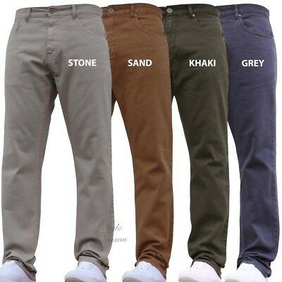 New Mens Straight Leg Jeans Various Colours Casual Wear Work Trousers Smart