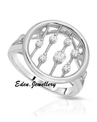 So Pretty Round Circle Ring with Cubic Zirconia 925 Sterling Silver Imported USA