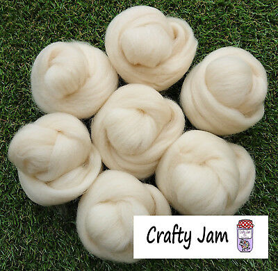 Needle/Wet Felting Natural White Wool/Roving good for 3D Projects+Spinning 46.6g