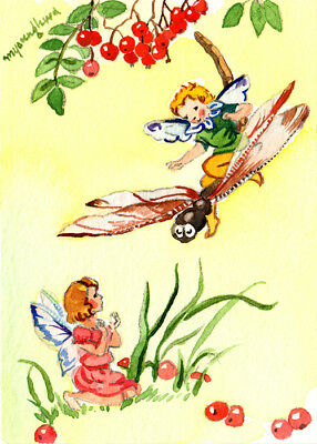 """Art print 2.5""""x3.5""""-Flying on a dragonfly, Fairy inspired by Rene Cloke"""