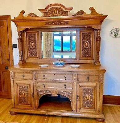 Late Victorian Arts & Crafts solid oak mirror backed sideboard Circa 1880-1890