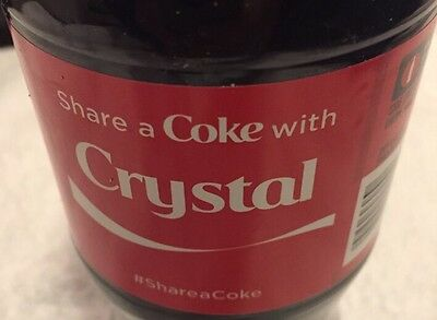 Share a COKE with Crystal 20 fl oz Collectible Bottle Rare Coca-Cola HTF 2015