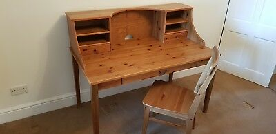 IKEA Solid wood Antique Pine desk and IKEA chair for sale