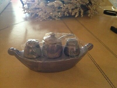 ART DECO STUNNING LUSTERWARE BOAT MUSTARD JAR AND SALT PEPPER SHAKERS Marked