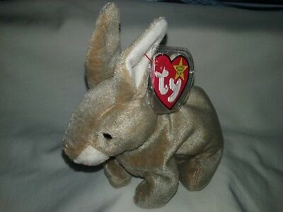 "Ty Beanie Baby 1998  "" Nibbly "" The Brown Rabbit (Mint With Mint Tags)"