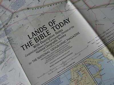 1967 Vintage National Geographic Map Lands Of The Bible Today,very Detailed