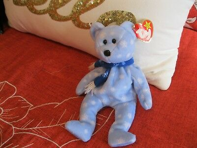 Brand New Ty Original Beanie Baby Bear Holiday Teddy~1999~Made In Usa~Snowflakes