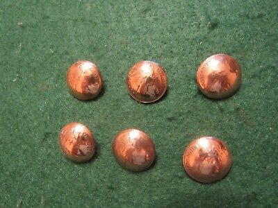 Original  British Decimal  New Pence  1970S Coin Shank Buttons 6 Pieces Lot