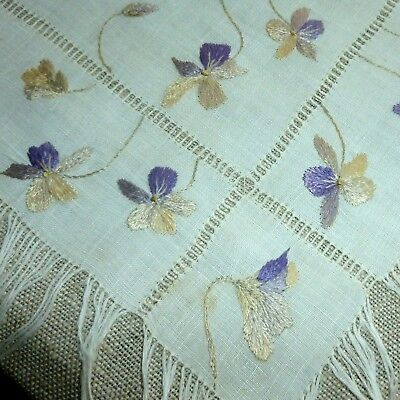 Antique Shaded Silk Embroidered Wild Pansy Mat