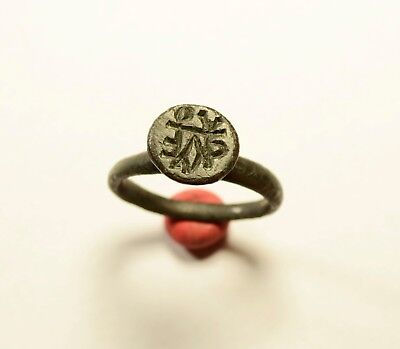 Rare Byzantine Bronze Ring - Seal With Monogram - Scarce Artifact