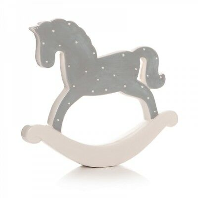 Baby Grey Polka Dot Ceramic Rocking Horse Ornament Nursery Christening 59393