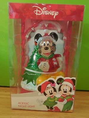 Disney Acrylic MICKEY MOUSE Christmas Holiday Night Light New!