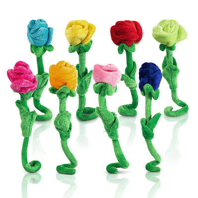 Rose Plush Flower Colorful Soft Stuffed Flowers Toy W/ Bendable Stems Gift 8PCS