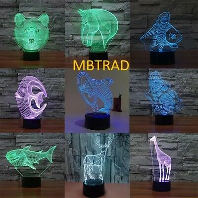 3D LED illusion  USB 7Color table Night Light Lamp Bedroom Child christmas gift
