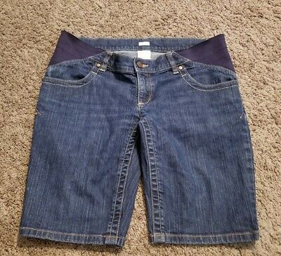 Old Navy Maternity Stretch Real Waist Dark Wash Jean Shorts Size 6 RN 54023