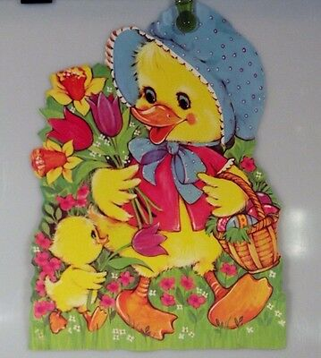 Vintage Easter Mother & Baby Chick with Flowers Die Cut Cardboard Decoration