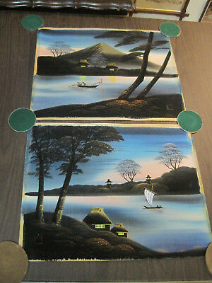 Vintage Japanese silk or rice paper landscape painting, signed pair #2