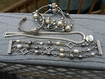 925 STERLING MOTHER of PEARL necklace-faux pearl ,rhinestone  heart bracelets