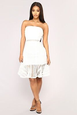 Fashion Nova Crochet Overlay Ruffle Hem Dress White Small Fit and Flare 31abaf2e4