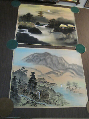 Vintage Japanese silk or rice paper landscape painting, signed pair #5