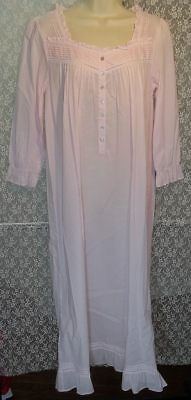 M EILEEN WEST Long Sleeve 100% Cotton Lawn Long Ballet Nightgown Rose Pink  New 09048de60