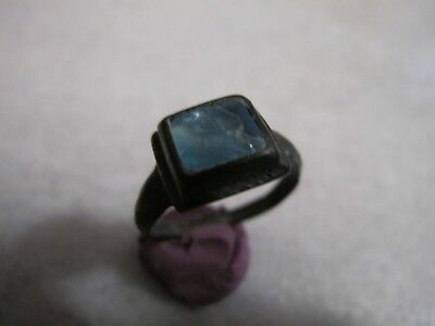 Antique  Medieval Bronze Ring Glass Stone