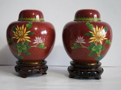 Two Chinese Rustic Brass Enamel Peony Flower  Cloisonne 19-20 C Lidded Jar Stand