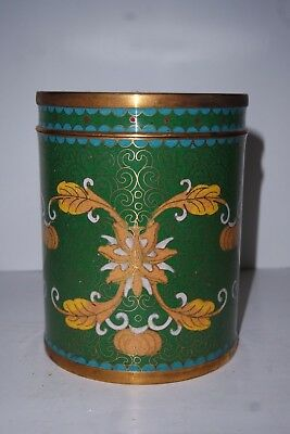 Chinese Green - Yellow Brass Enamel  Cloisonne 19-20 C Tea, Tobacco Caddy, Jar