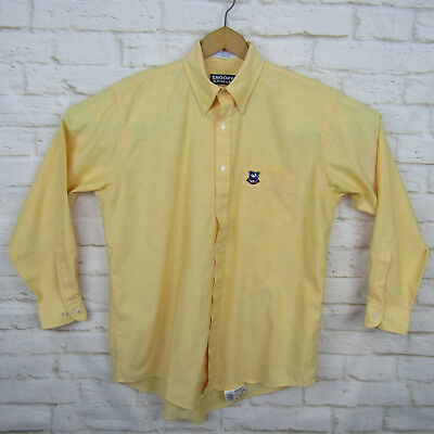 Mens Snoopy Joe Cool Yellow Button Up Shirt Large 16 32/33 Casual VTG Retro