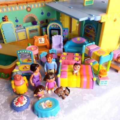 Dora the Explorer Talking Dollhouse with dolls lots of furniture pool and slide