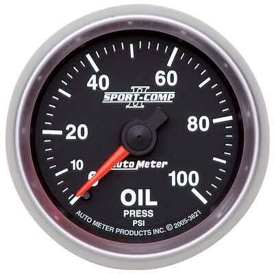 Auto Meter Sport-Comp II 52mm 0-100 PSI Mechanical Oil Pressure Gauge