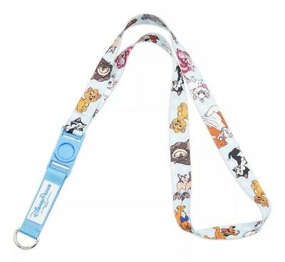 Disney Parks Cats & Dogs Reversible Lanyard Cheshire Bolt Lady Tramp