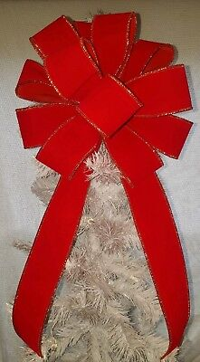 """12 """" Large Red Velvet Bows Christmas   For Wreath Wired Gold Edge Ribbon Swag"""