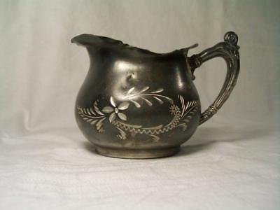Antique B.G. Uher Silver Co. diamond etched silverplate creamer Quadruple