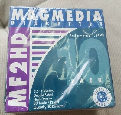 Magmedia Diskettes 10 Pack MF2HD Factory Sealed