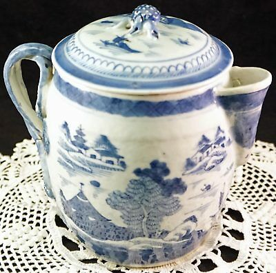 Antique Blue & White Chinese Scenic Porcelain Lidded Tea or Chocolate Pot