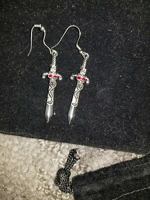 Medieval Pair Of Earrings, Silver Sword And Snake, Red-eyed Skeleton