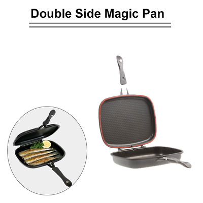 Double Sided Magic Grill Frying Pan 33cm Black Nonstick Foldable Flipping Pan