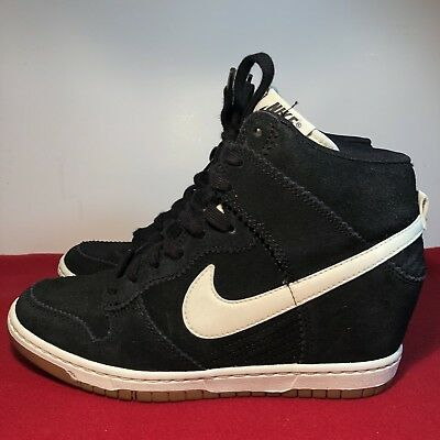 f43adf7f8966 Nike Dunk Sky High Womens US Sz 9 Sneaker Boot Hidden Wedge Black 528899-002