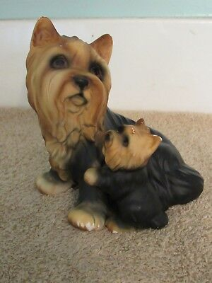 Vtg Ceramic Yorkie Mother with Puppy Figurine Japan