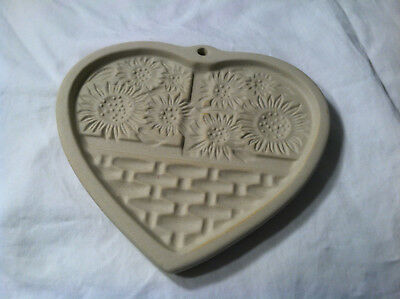 Pampered Chef TEDDY BEAR & Sunflower HEART Cookie Mold Press 1991/94 Pottery