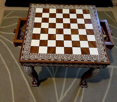 Antique Style Indian Inlaid Rosewood Chess Table Royal Legs With 32 Chess Pieces