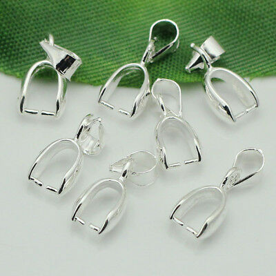 50pcs/lot 16x6mm Silver Plated Pendant Pinch Bails Connector Findings Wholesale