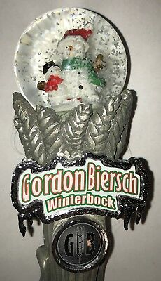 NEW Gordon Biersch WinterBock SnowMan Globe Draft Beer Tap Handle Marker