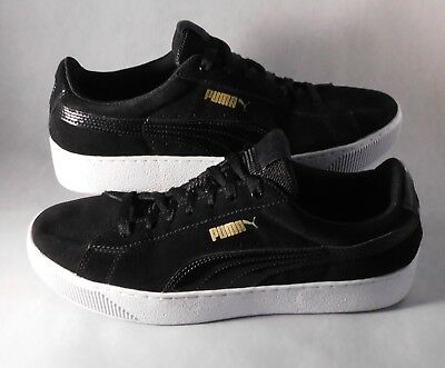 bb5aeefa0597 PUMA Classic Black Suede Lace-Up Low-Top Athletic Shoes Sneakers Men s Size  9.5